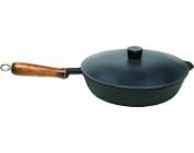 Сковорода чугунная 240/50 Гриль с деревянной ручкой